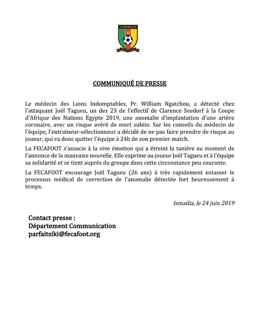 بيان الاتحاد الكاميرونى