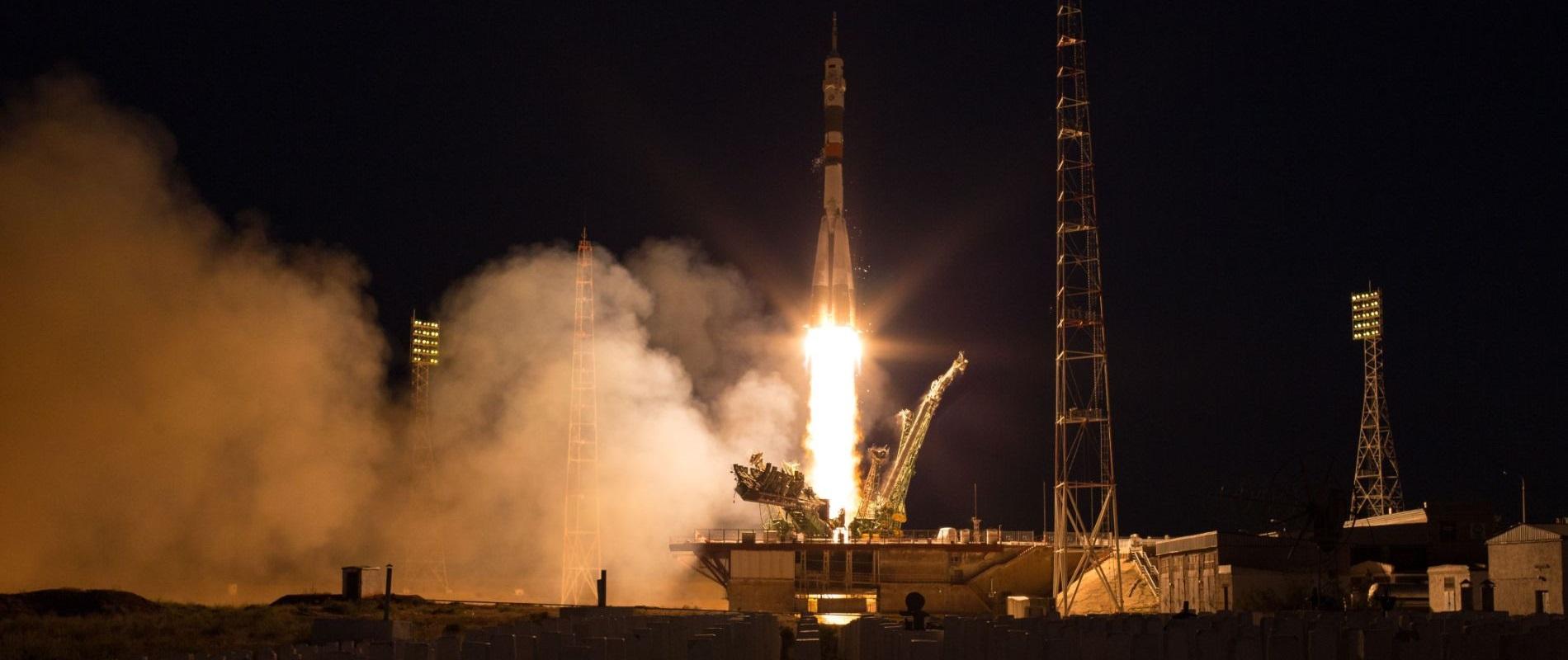 لحظة انطلاق Soyuz MS-11 فى عام 2018