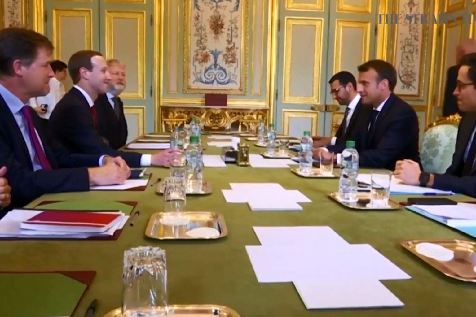اجتماع مارك زوكربيرج الرئيس التنفيذى لشركة فيس بوك وإيمانويل ماكرون بشأن تسليم البيانات