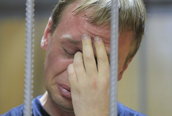 Russian journalist during the detention