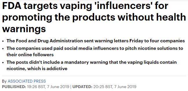 هيئة الاغذية والادوية الامريكية تحذر من الترويج للسجائر الالكترونية عبر مواقع التواصل