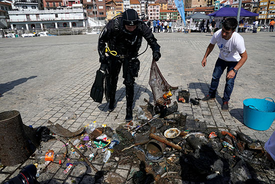Diver during cleaning campaign