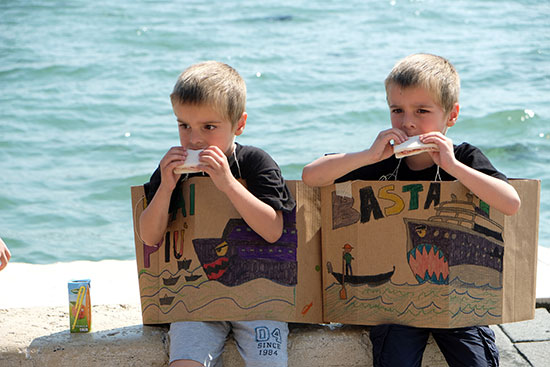 Children participate in the demonstrations