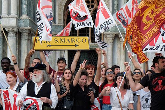 Protests in Italian Venice