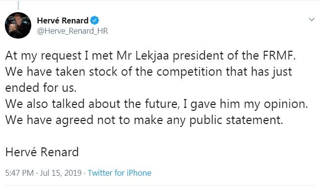 تغريدة رينارد