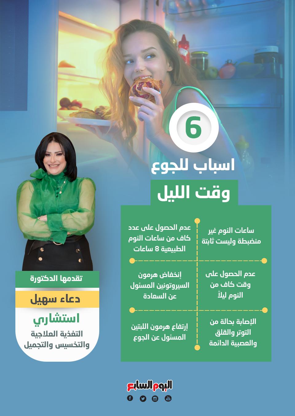6 اسباب للجوع وقت الليل