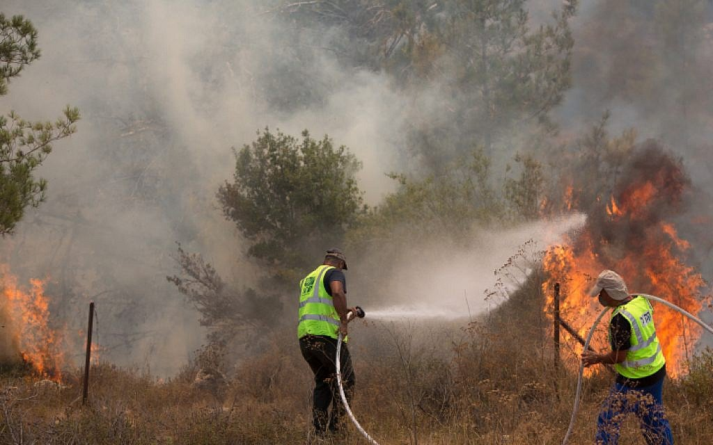 Fire erupted in Israel