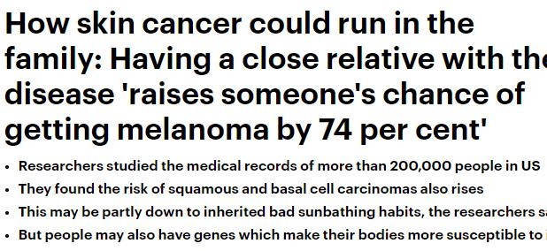 سرطان الجلد وعلاقته بالوراثة