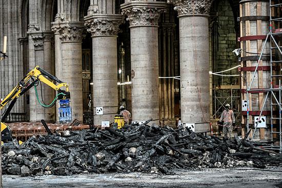 استمرار أعمال الترميم بكاتدرائية نوتردام بفرنسا بعد حريق (2)