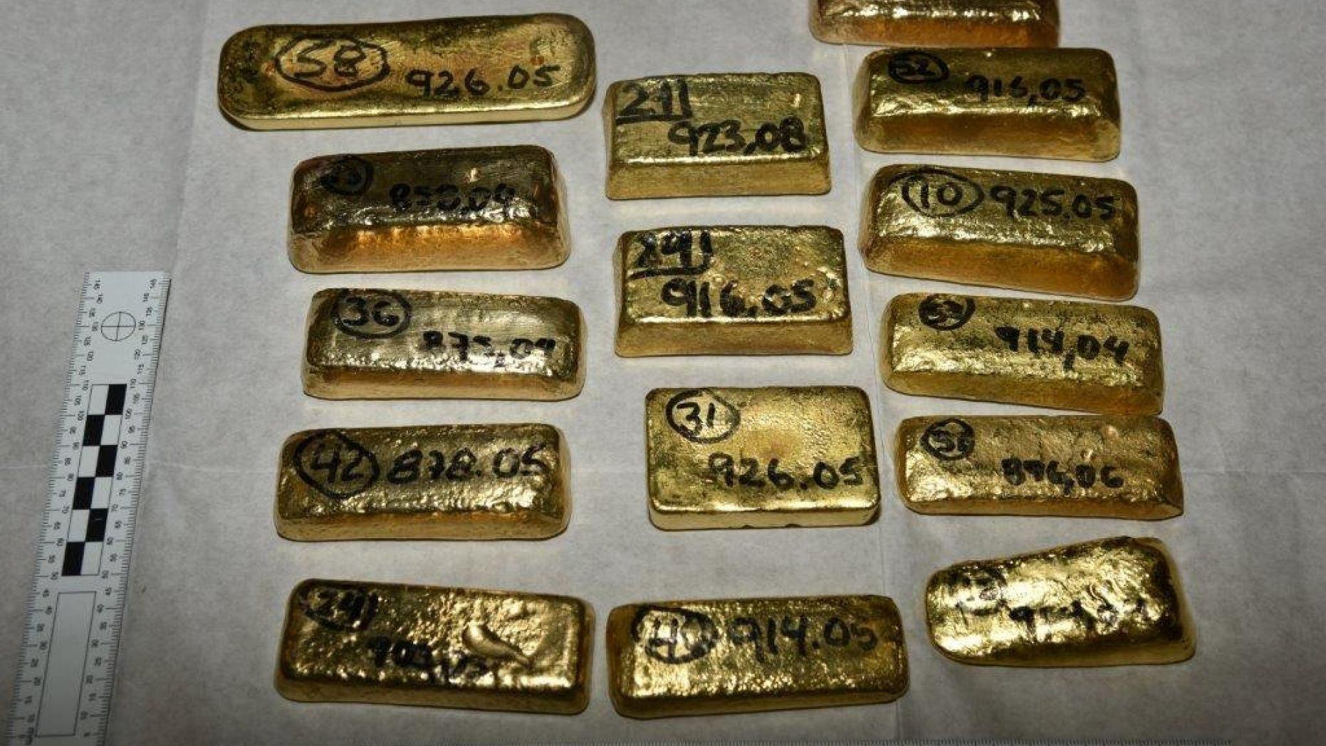 المضبوطات من الذهب