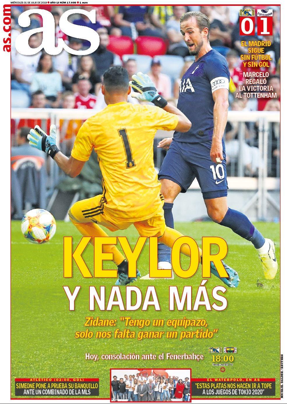غلاف صحيفة آس بعد مباراة الريال ضد توتنهام