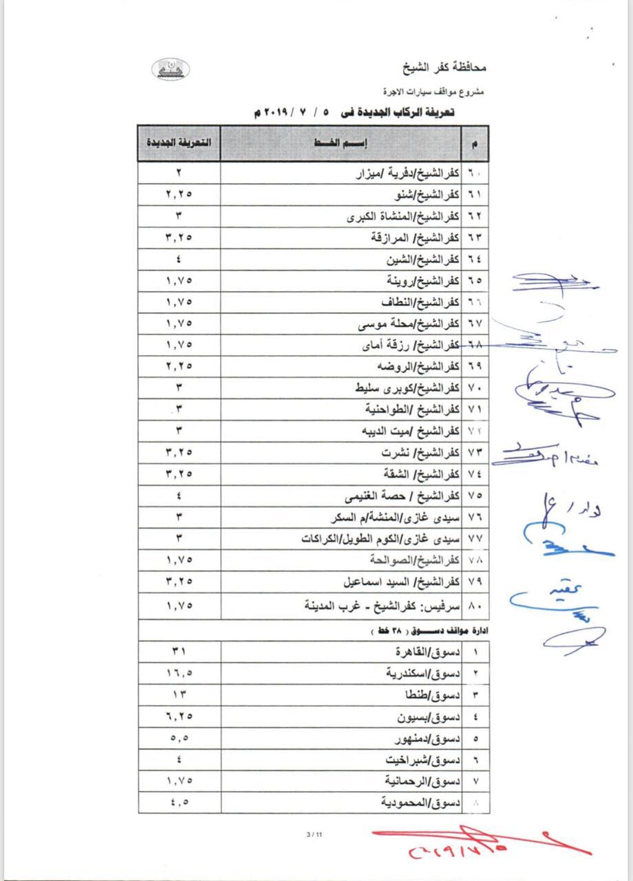 التعريفة الجديدة بخطوط محافظة كفر الشيخ  (3)