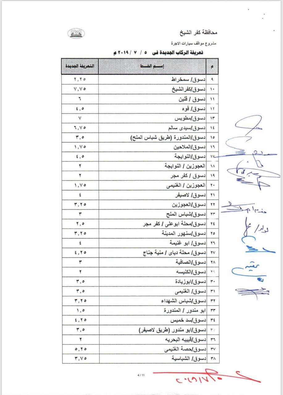 التعريفة الجديدة بخطوط محافظة كفر الشيخ  (4)