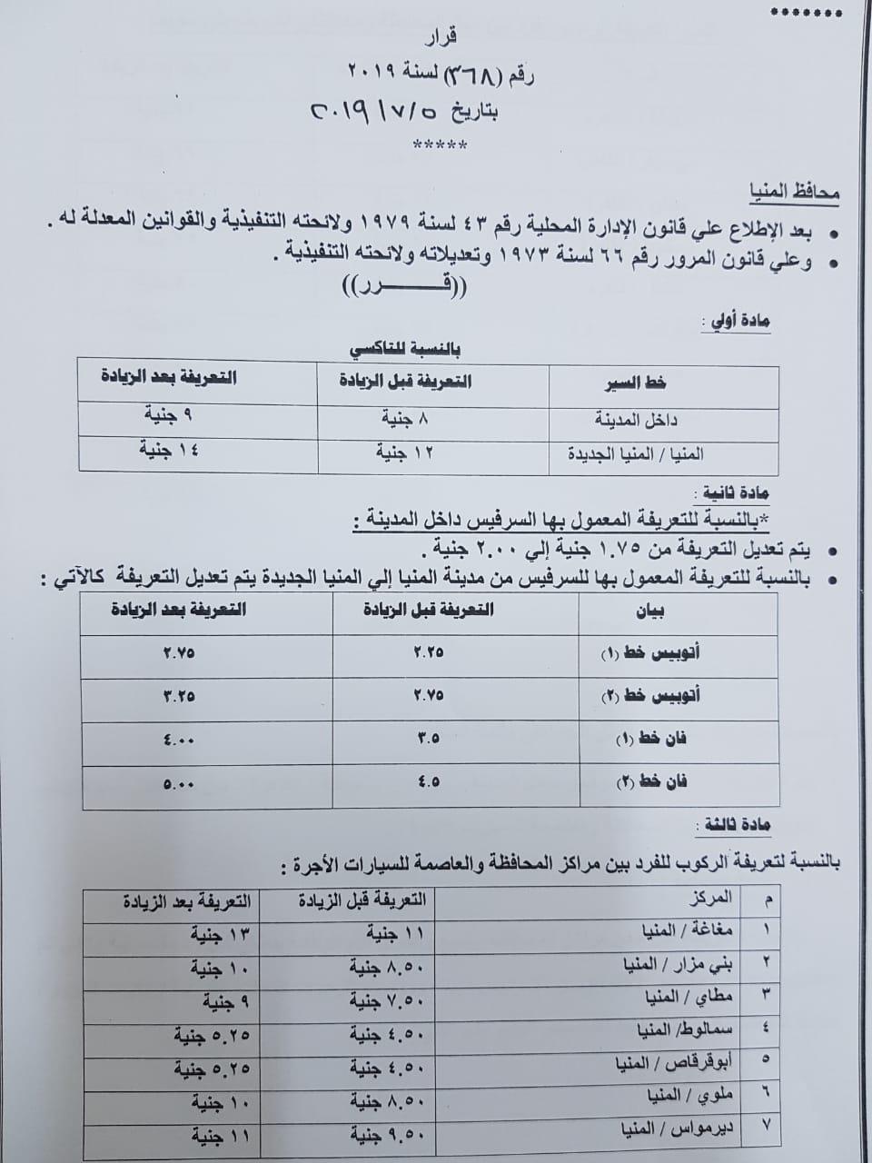 تعريفة الأجرة الجديدة بالمنيا (2)