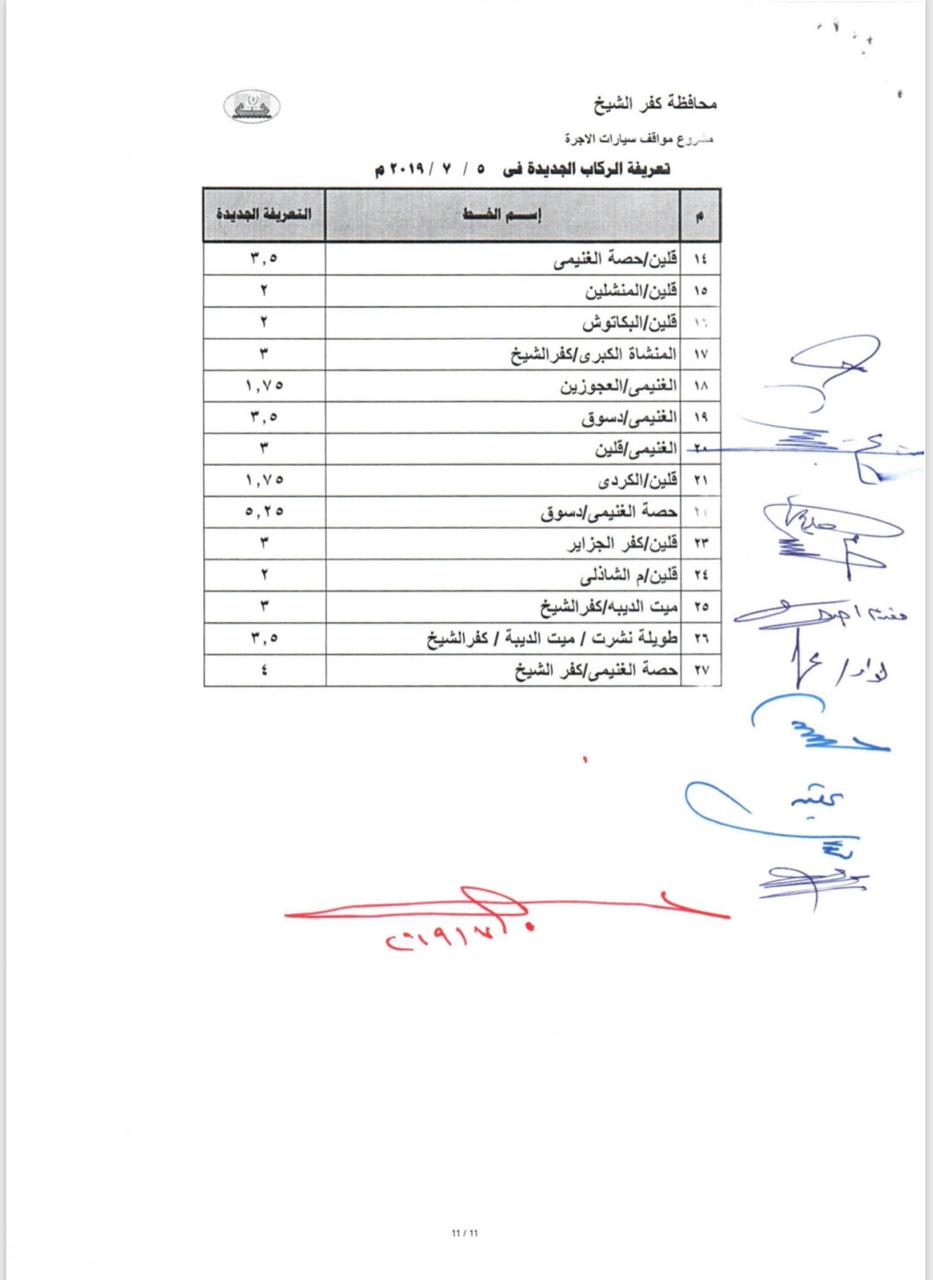 التعريفة الجديدة بخطوط محافظة كفر الشيخ  (8)