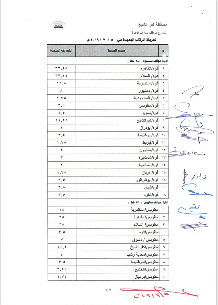 التعريفة الجديدة بخطوط محافظة كفر الشيخ  (6)
