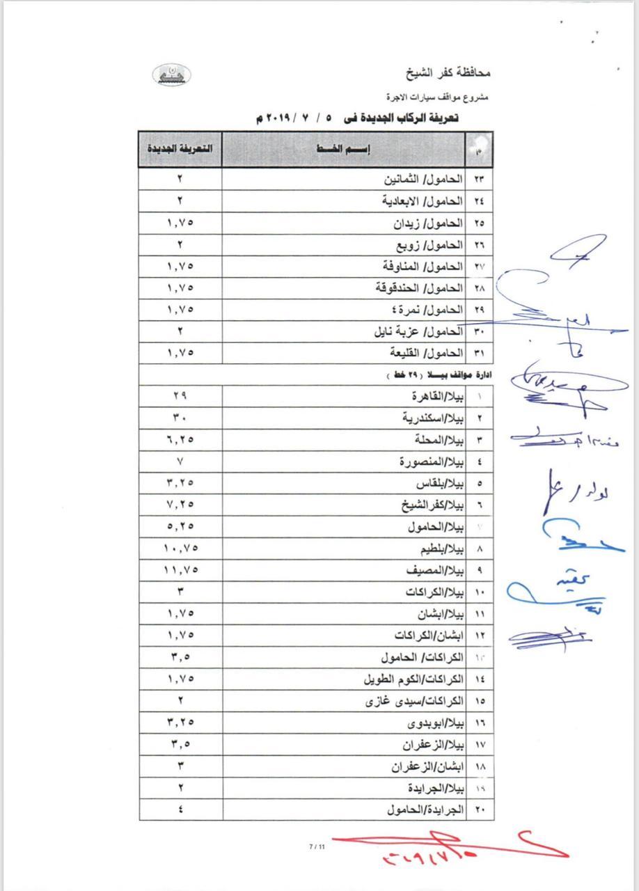التعريفة الجديدة بخطوط محافظة كفر الشيخ  (11)