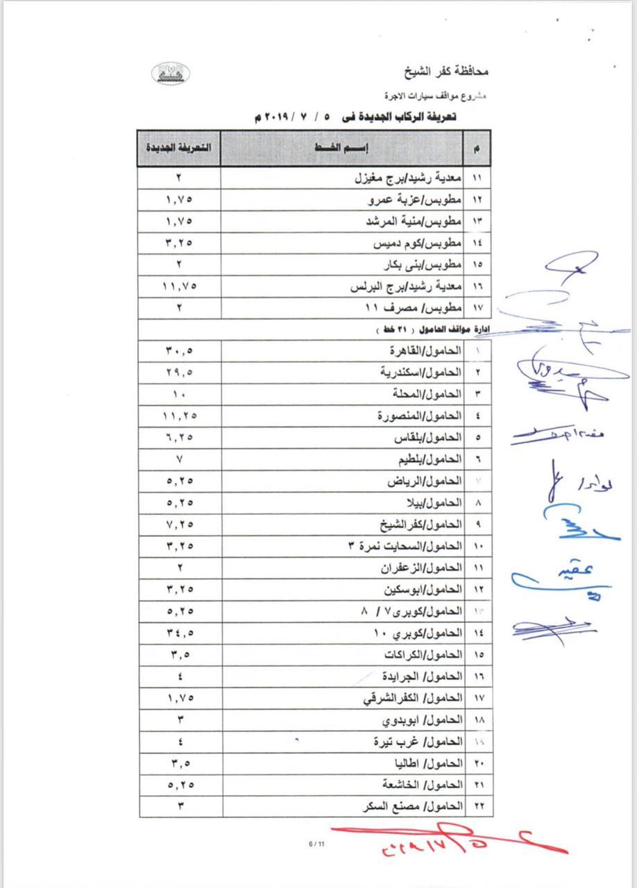 التعريفة الجديدة بخطوط محافظة كفر الشيخ  (12)