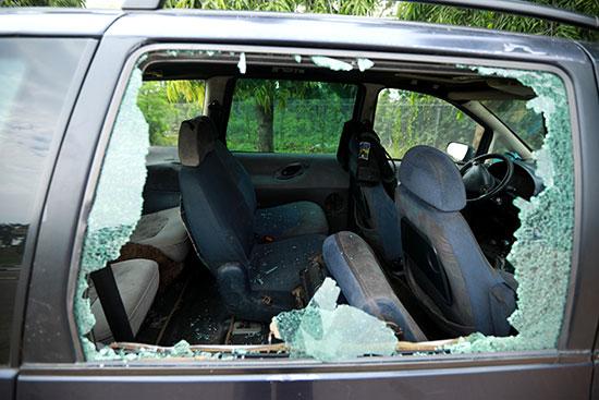 Broken glass of car