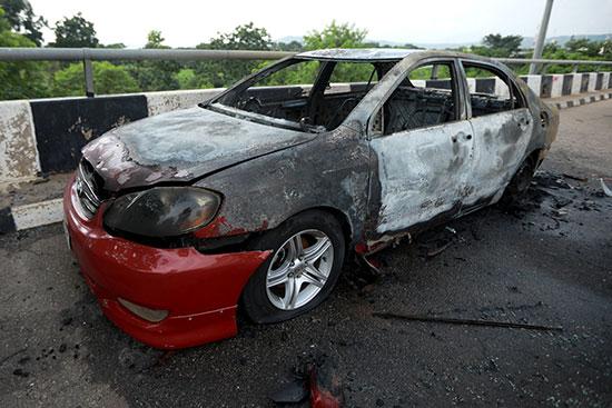 A destroyed car