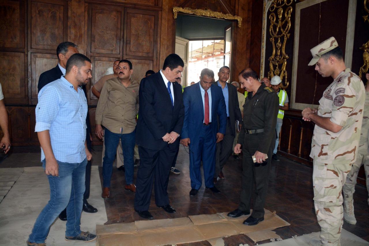 محافظ القليوبية يتفقد أعمال ترميم قصر محمد على بشبرا الخيمة (4)