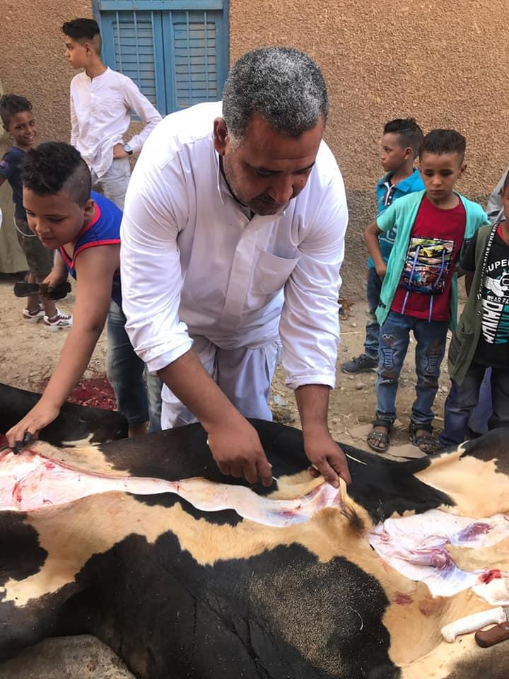 أهالي الأقصر يواصلون ذبح أضاحي العيد لليوم الثاني لتوزيع اللحوم علي الفقراء والأقارب (9)