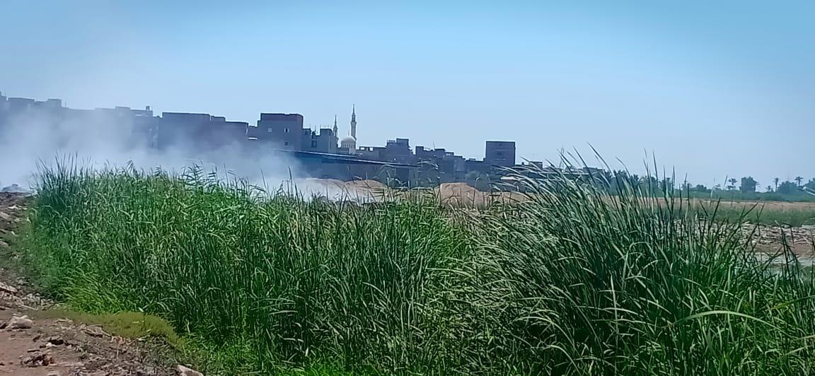 حرائق تجمعات القمامة تغطى سماء قرية السيالة  (1)