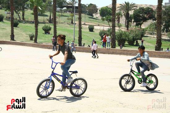 الاطفال يستمتعون بركوب العجل