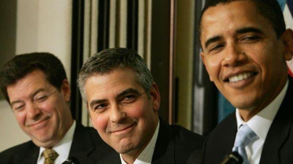 جورج كلوني مع اوباما
