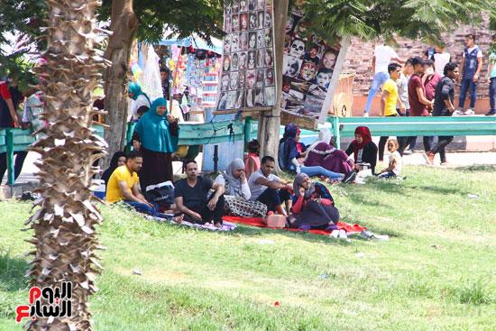 الزوار يحتمون من حرارة الشمس تحت الشجر (2)