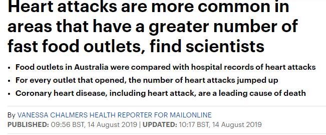 الازمات القلبية ترتبط بوجود محلات الوجبات السريعة