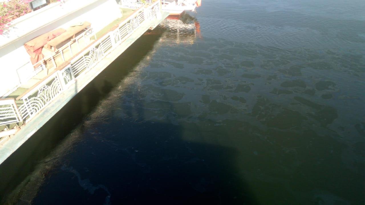 تسرب مواد بترولية في نهر النيل بالأقصر وشركة المياة تتعامل بالغطاسين والحواجز (2)