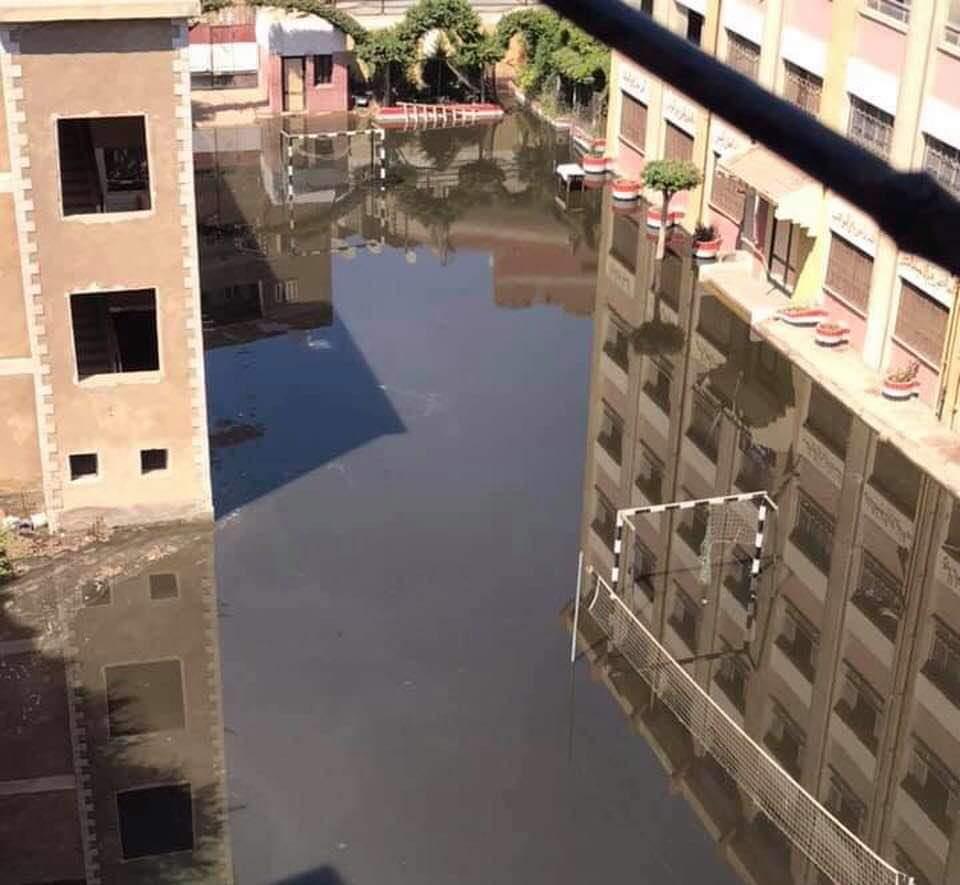 المياه تغمر مدرسة بمركز طنطا (1)