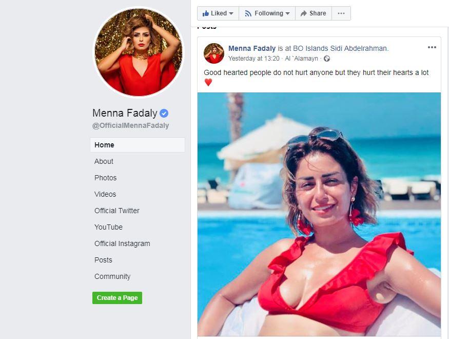 منة فضالى على صفحتها بموقع فيس بوك
