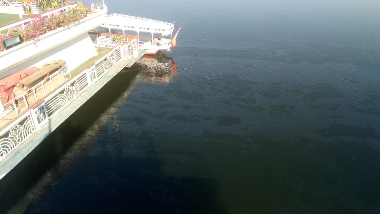 تسرب مواد بترولية في نهر النيل بالأقصر وشركة المياة تتعامل بالغطاسين والحواجز (7)