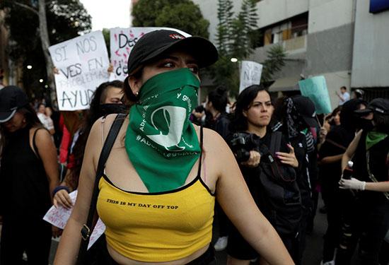 Angry masked demonstrator