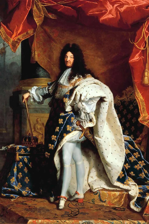 لوحة فرنسية لـ لويس الرابع عشر يرتدى حذاء قضى مطعم بالأحمر عام 1701.