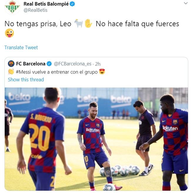 ريال بيتيس يرد على عودة ميسى للتدريبات