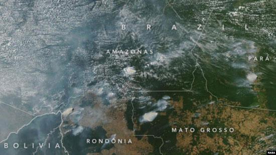 صورة نشرتها ناسا للحرائق في الأمازون