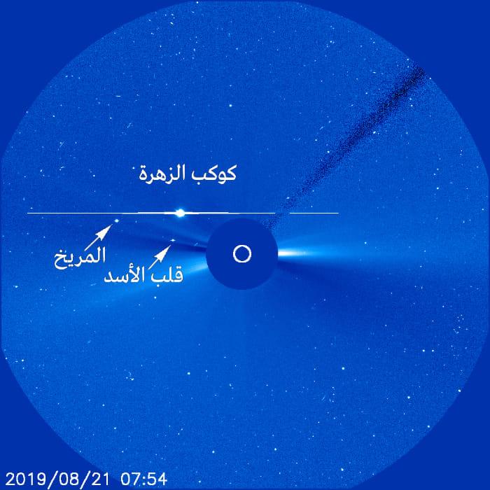-صورة توضح اقتران المريخ بالزهرة