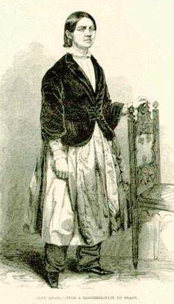 صورة للوسي ستون وهي ترتدي السروال النسوي في عام 1853.
