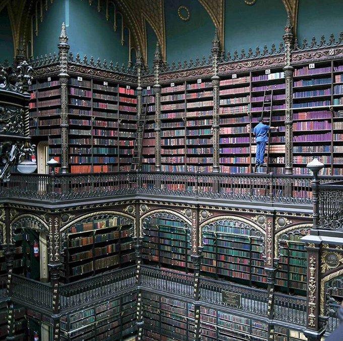 رجل يعمل فى المكتبة