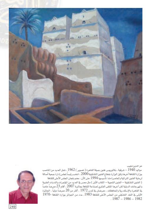 لوحة الفنان عز الدين نجيب المشاركة فى المعرض العام 2008 وسيرته الذاتية
