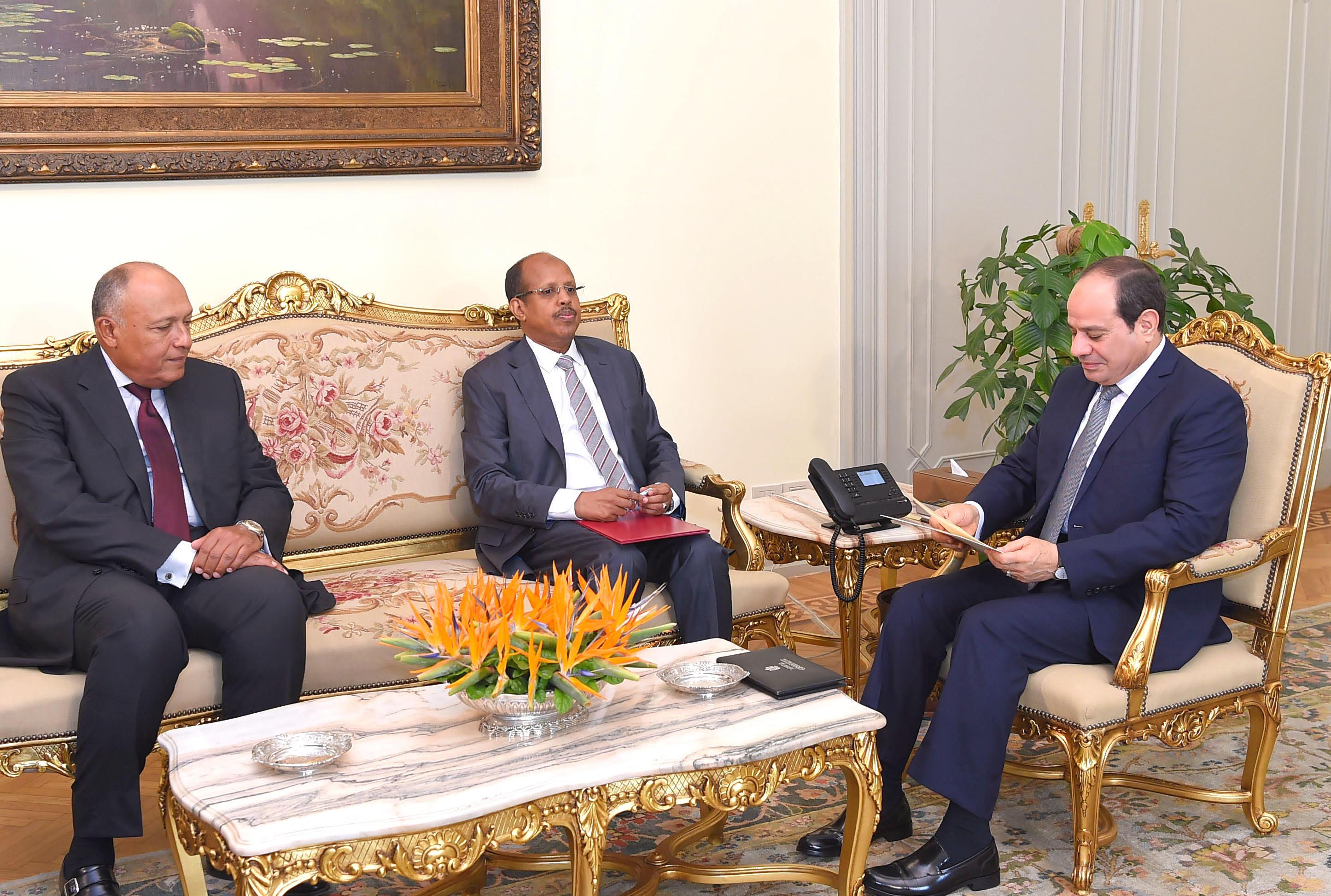 الرئيس السيسى مع وزير خارجية جيبوتى (1)