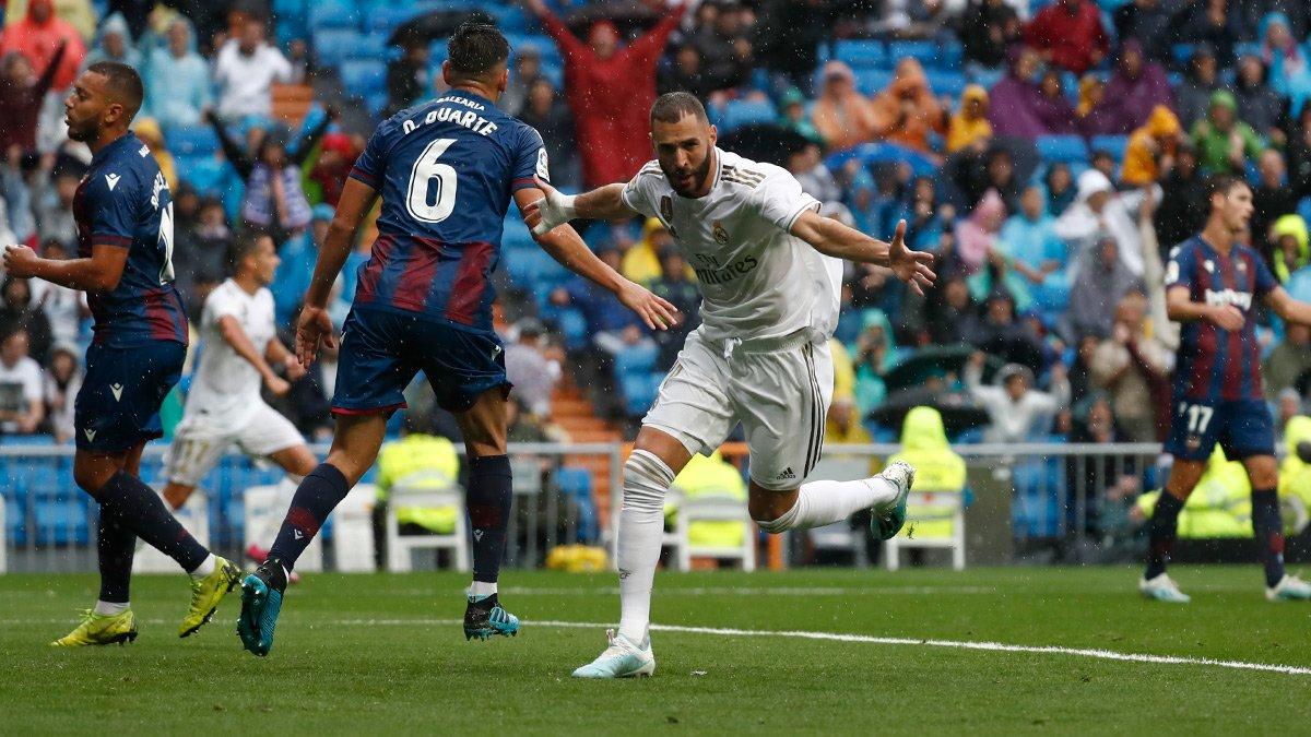 بنزيما يتألق في مباراة ريال مدريد ضد ليفانتي