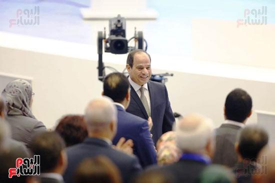 جانب من استقبال الرئيس السيسى
