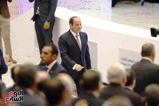الرئيس السيسى داخل قاعة المنارة للمؤتمرات