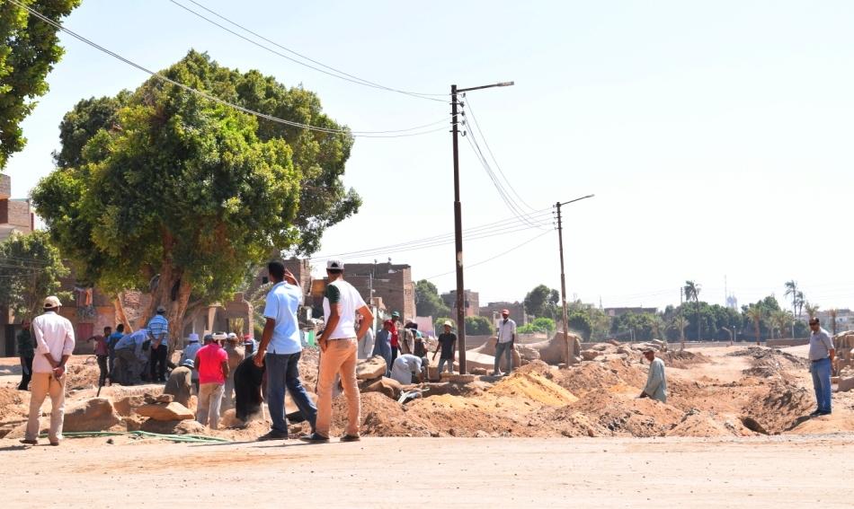 شاهد أعمال الحفائر وإستخراج صف من الكباش (4)