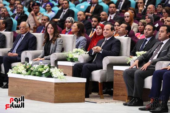 الرئيس السيسى خلال الاحتفاء بأبطال مصر فى دورة الألعاب الأفريقية (2)