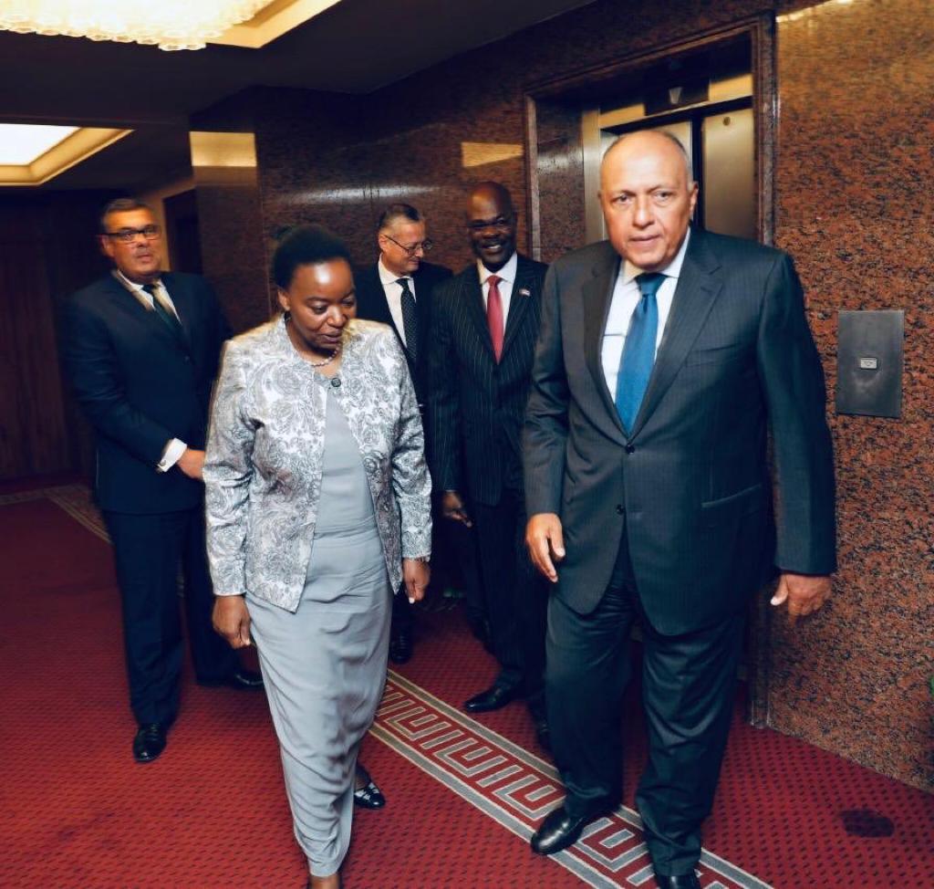 شكرى يلتقى نظيرته الكينية فى مقر وزارة الخارجية
